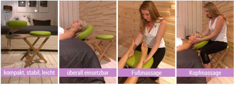 Tara Lima Massagehocker im Einsatz